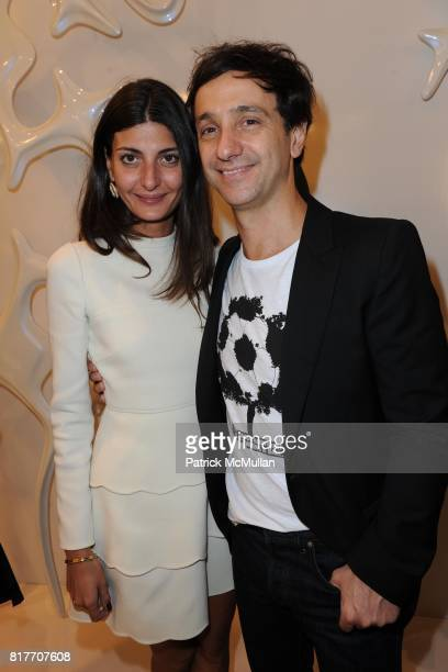 Giovanna Bataglia and Carlos Miele attend Carlos Miele and Vogue Italia Celebrate Limited Edition of TShirts Designed by Lapo Elkann and Bianca...
