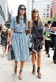 Giovanna Battaglia and Anna Dello Russo are seen outside the Calvin Klein show on September 11 2014 in New York City
