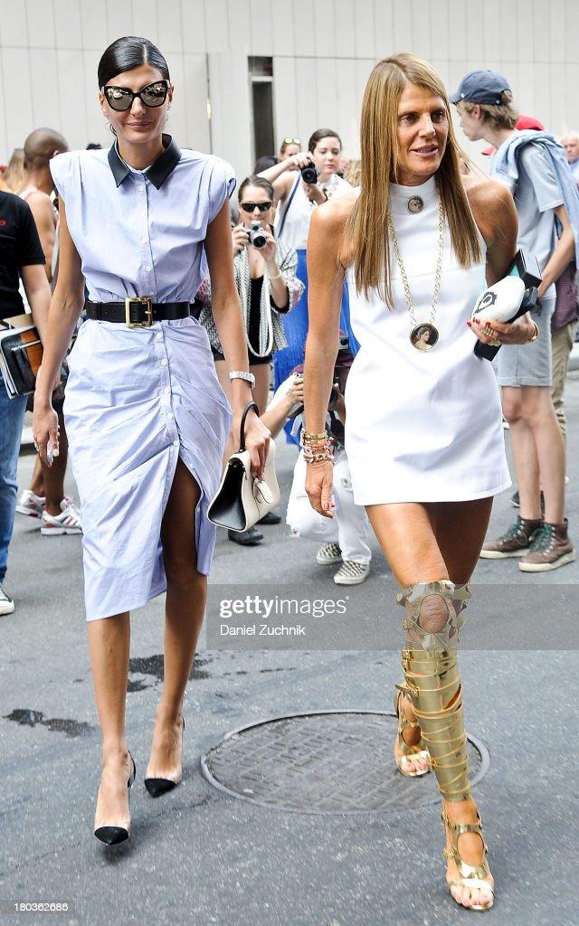 Giovanna Battaglia and Anna Dello Russo are seen outside the Proenza Schouler show on September 11, 2013 in New York City.