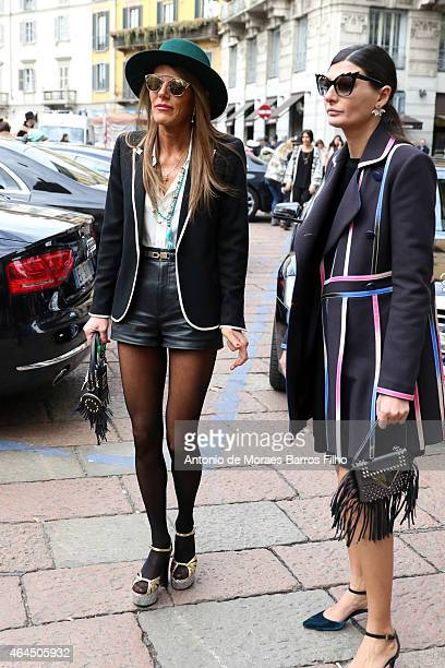 Giovanna Battaglia and Anna Dello Russo arrive to Gucci show during Milan Fashion Week 2015 on February 25 2015 in Milan Italy