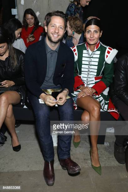 Giovanna Battaglia and Derek Blasberg attend the ERDEM show during London Fashion Week September 2017 on September 18 2017 in London England