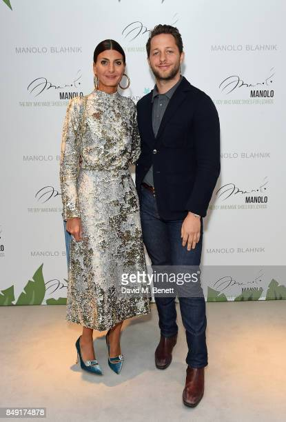 Giovanna Battaglia and Derek Blasberg attend the screening of 'Manolo The Boy Who Made Shoes For Lizards' during London Fashion Week September 2017...