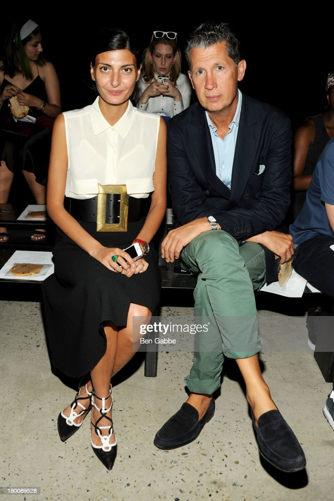 Giovanna Battaglia and Stefano Tonchi attend Band Of Outsiders Women's during Mercedes-Benz Fashion Week Spring 2014 on September 8, 2013 in New York City.