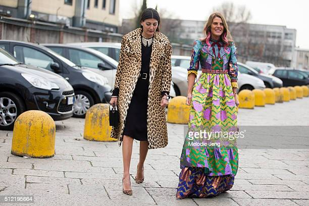 Giovanna Battaglia Anna Dello Russo at the Gucci show on February 24 2016 in Milan Italy Anna wears Gucci