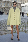 Giovanna Battaglia arrives at the Louis Vuitton show as part of the Paris Fashion Week Womenswear Fall/Winter 20142015 on March 5 2014 in Paris France