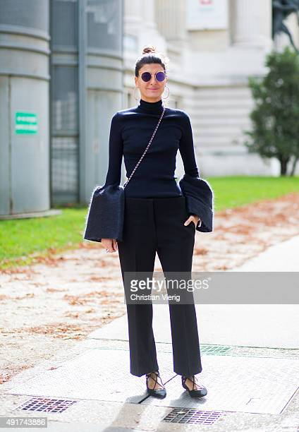 Giovanna Battaglia at Moncler Gamme Rouge during the Paris Fashion Week Womenswear Spring/Summer 2016 on Oktober 7 2015 in Paris France