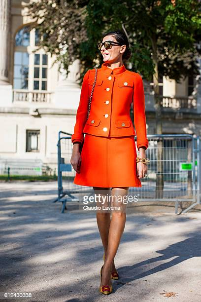 Giovanna Battaglia attends Chanel show on day 8 of Paris Womens Fashion Week Spring/Summer 2017 on October 4 2016 in Paris France
