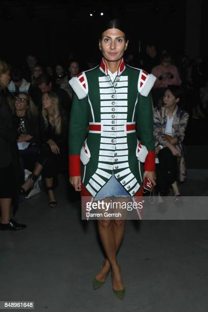 Giovanna Battaglia attends the Christopher Kane show during London Fashion Week September 2017 on September 18 2017 in London England