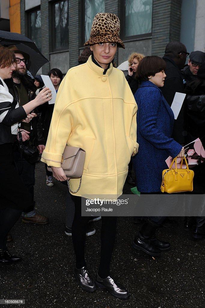 Giovanna Battaglia attends the Emporio Armani fashion show as part of Milan Fashion Week Womenswear Fall/Winter 2013/14 on February 24, 2014 in Milan, Italy.
