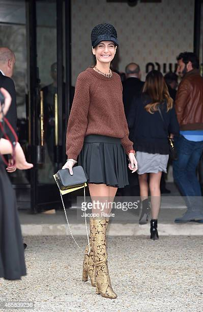 Giovanna Battaglia attends the Miu Miu show as part of Paris Fashion Week Fall Winter 2015/2016 on March 11 2015 in Paris France