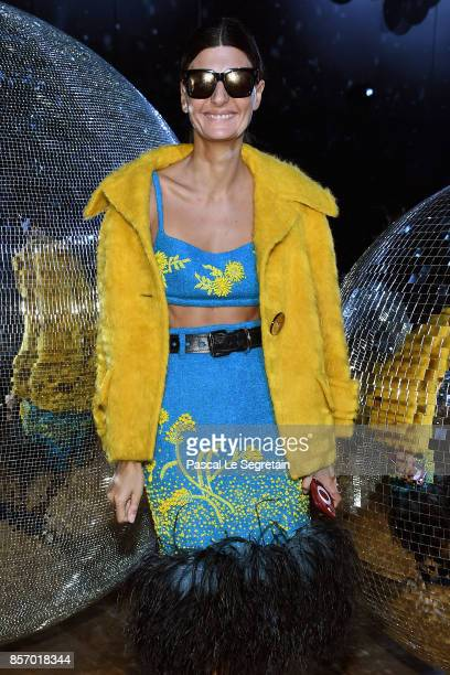 Giovanna Battaglia attends the Moncler Gamme Rouge show as part of the Paris Fashion Week Womenswear Spring/Summer 2018 on October 3 2017 in Paris...