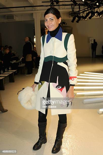 Giovanna Battaglia attends the Rodarte fashion show during MercedesBenz Fashion Week Fall 2014 at Center 548 on February 11 2014 in New York City