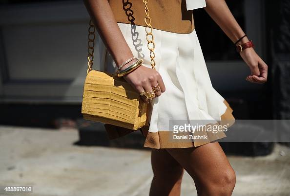 Giovanna Battaglia bag detail is seen outside the Calvin Klein show during New York Fashion Week 2016 on September 17 2015 in New York City