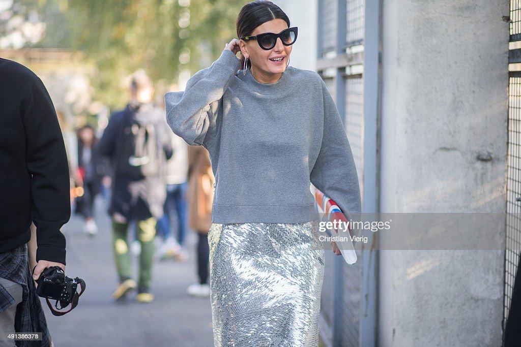 Giovanna Battaglia during the Paris Fashion Week Womenswear Spring/Summer 2016 on October 4 2015 in Paris France