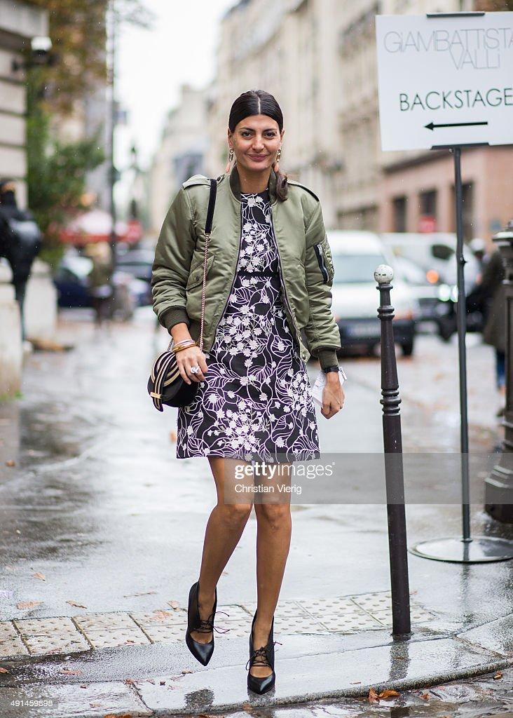 Giovanna Battaglia during the Paris Fashion Week Womenswear Spring/Summer 2016 on October 5 2015 in Paris France