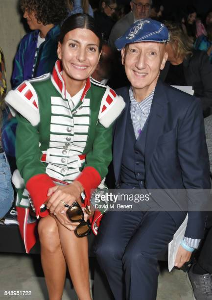 Giovanna Battaglia Engelbert and Stephen Jones attend the Christopher Kane SS18 catwalk show during London Fashion Week September 2017 at The Tanks...