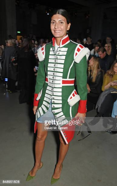 Giovanna Battaglia Engelbert attends the Christopher Kane SS18 catwalk show during London Fashion Week September 2017 at The Tanks at Tate Modern on...