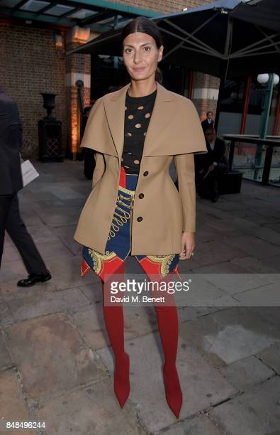 Giovanna Battaglia Engelbert attends the Emporio Armani Show on September 17 2017 in London England