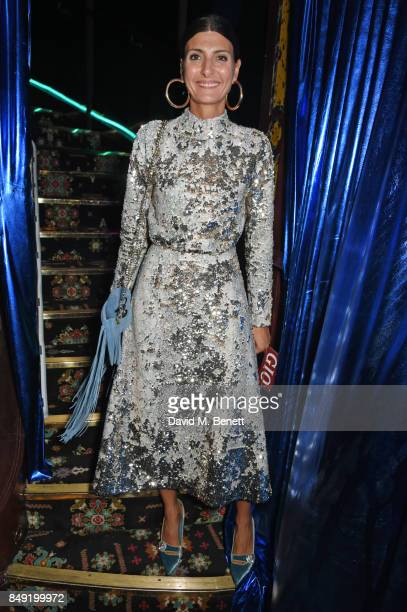 Giovanna Battaglia Engelbert attends the LOVE magazine x Miu Miu party held during London Fashion Week at Loulou's on September 18 2017 in London...