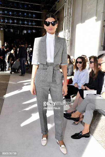 Giovanna Battaglia Engelbert attends the Max Mara show during Milan Fashion Week Spring/Summer 2018 on September 21 2017 in Milan Italy