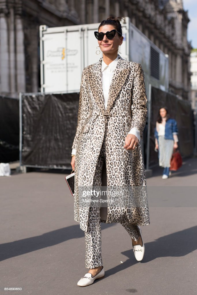 Giovanna Battaglia Engelbert is seen attending Dries Van Noten during Paris Fashion Week wearing Dries Van Noten on September 27, 2017 in Paris, France.