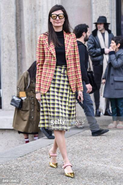 Giovanna Battaglia is seen arriving at Miu Miu fashion show during the Paris Fashion Week Womenswear Fall/Winter 2017/2018 on March 7 2017 in Paris...