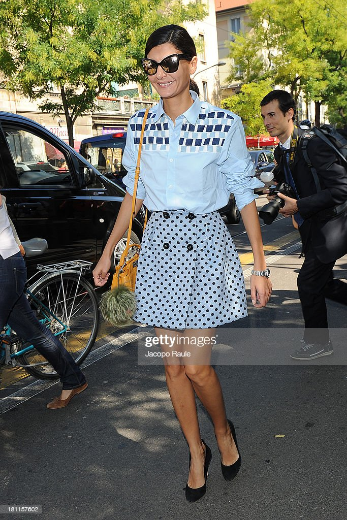 <a gi-track='captionPersonalityLinkClicked' href=/galleries/search?phrase=Giovanna+Battaglia&family=editorial&specificpeople=2215032 ng-click='$event.stopPropagation()'>Giovanna Battaglia</a> is seen arriving the Fendi during Milan Fashion Week Womenswear Spring/Summer 2014 on September 19, 2013 in Milan, Italy.