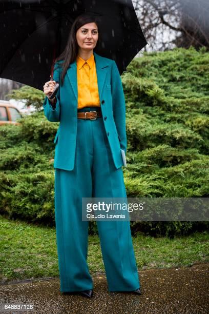 Giovanna Battaglia is seen before the Sacai show at the Grand Palais during Paris Fashion Week Womenswear Fall/Winter 2017/2018 on March 6 2017 in...