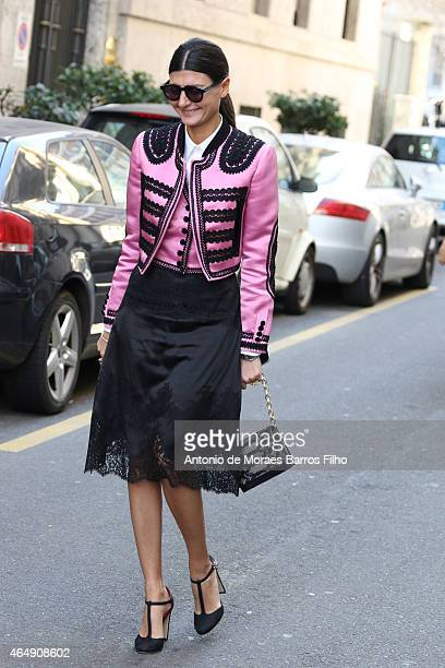 Giovanna Battaglia is seen in the streets of Milan arriving at the Dolce Gabbana show during Milan Fashion Week 2015 on Mars 01 2015 in Milan Italy