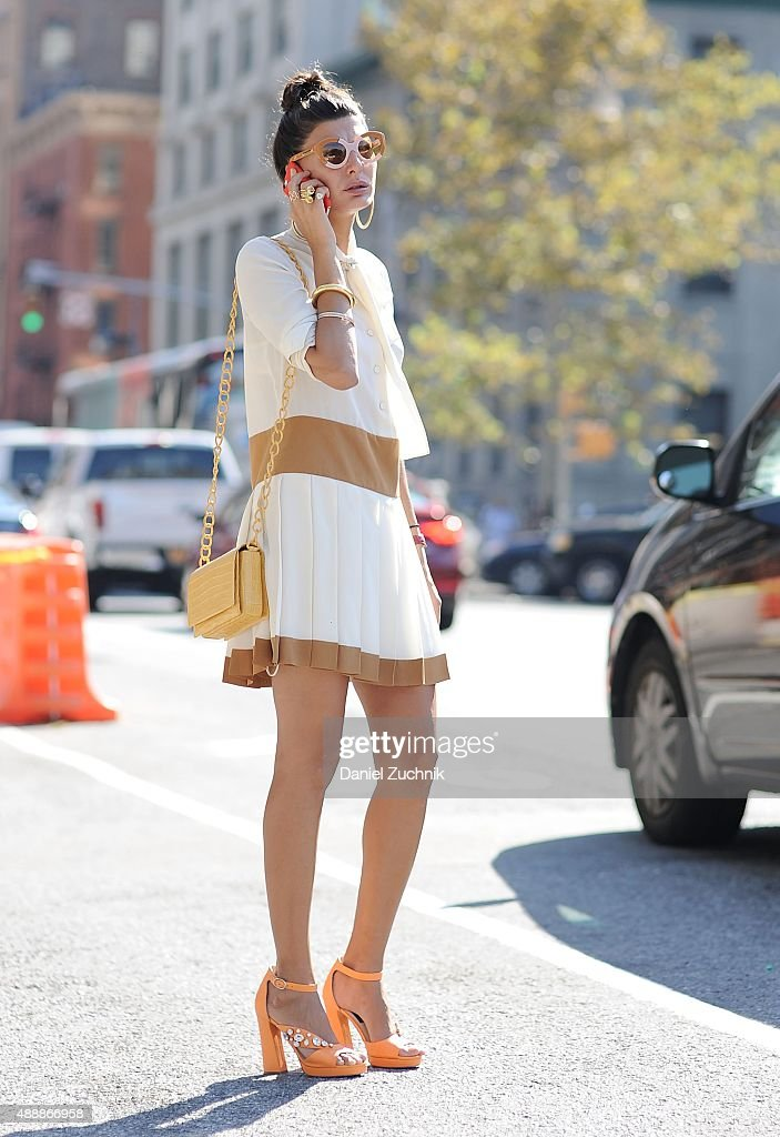 Giovanna Battaglia is seen outside the Calvin Klein show during New York Fashion Week 2016 on September 17 2015 in New York City