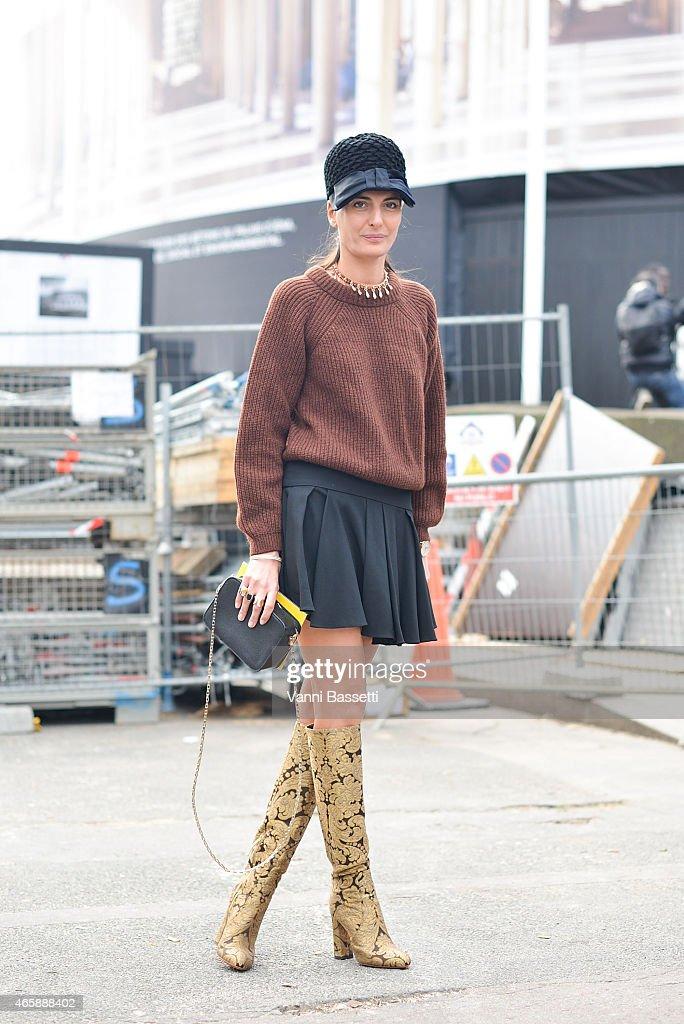 Giovanna Battaglia poses before the Miu Miu show on Day 9 of Paris Fashion Week Womenswear FW15 on March 11 2015 in Paris France
