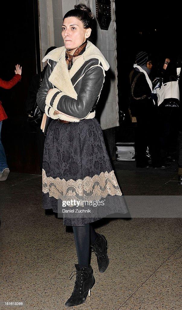 Giovanna Battaglia seen arriving to the Oscar de la Renta show on February 12, 2013 in New York City.
