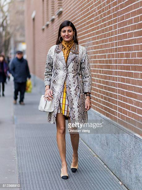 Giovanna Battaglia seen outside Fendi during Milan Fashion Week Fall/Winter 2016/17 on February 25 in Milan Italy