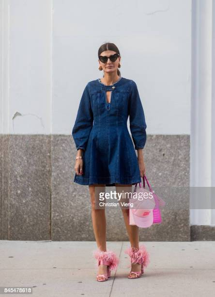 Giovanna Engelbert wearing denim dress pink heels and bag seen in the streets of Manhattan outside Diane von Furstenberg during New York Fashion Week...