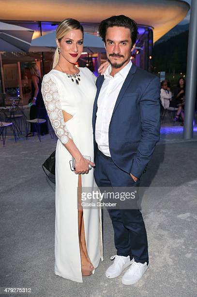 Giovanna Ewbank Local Ambassador Brazil and guest Lavoisier during the Swarovski new collection launch event on July 2 2015 in Wattens Austria