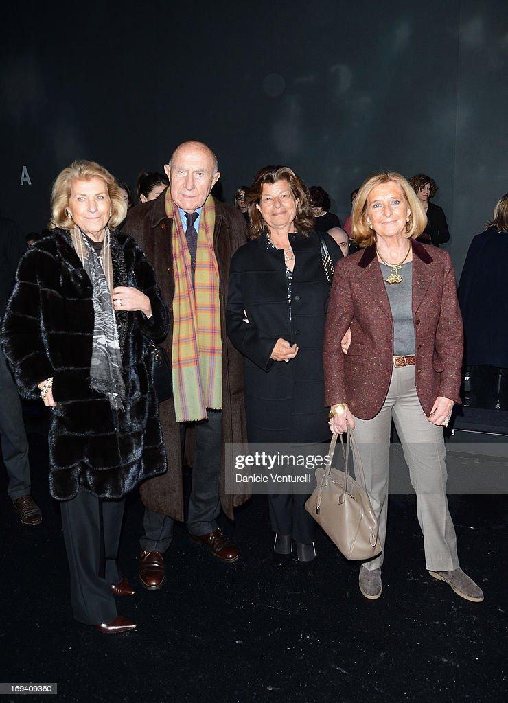 Giovanna Gentile Ferragamo, Beppe Modenese, Fulvia Visconti Ferragamo and Sibilla della Gherardesca attend the Salvatore Ferragamo show as a part of Milan Fashion Week Menswear Autumn/Winter 2013 on January 13, 2013 in Milan, Italy.