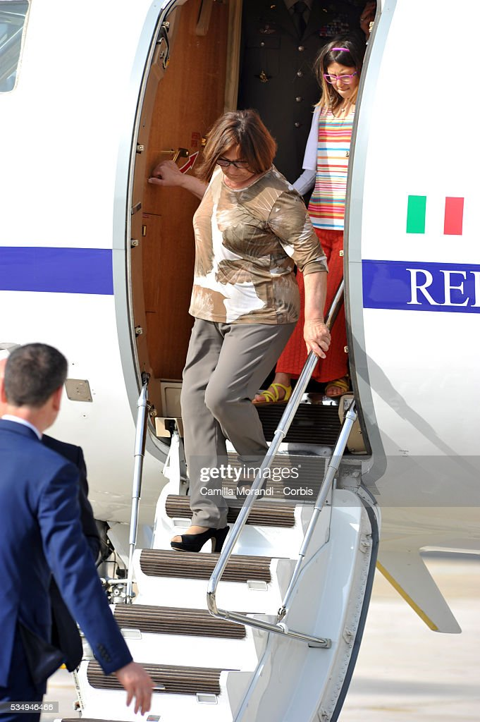 Giovanna Girone mother of Italian Marine Salvatore Girone arrives at Ciampino Airport on May 28 2016 in Rome, Italy. Salvatore Girone, accused of killing two fishermen in India returned back to Italy after four years, pending a ruling on where he should be tried.