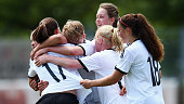Giovanna Hoffmann of Germany celebrates her team's third goal with team mates during the U17 girls international friendly match between germany and...