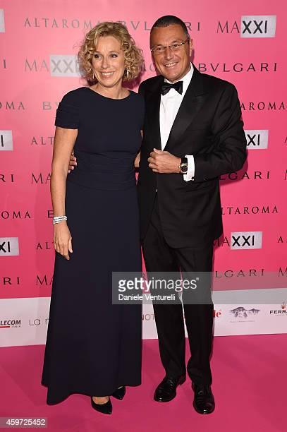 Giovanna Melandri and Jean Christophe Babin attend the Bulgari Gala Dinner Photocall at Maxxi Museum on November 29 2014 in Rome Italy