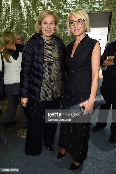 Giovanna Melandri and Sarah Cosulich Canarutto attend 'SHIT AND DIE' Vernissage at palazzo Cavour on November 5 2014 in Turin Italy