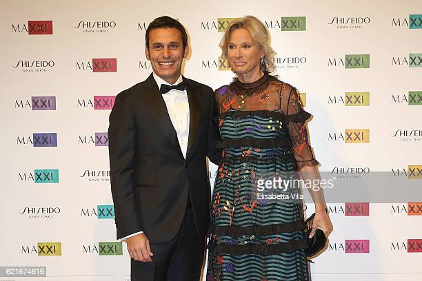 Giovanna Melandri President of Fondazione MAXXI and Alberto Noe attend a photocall for the MAXXI Acquisition Gala Dinner 2016 at Maxxi Museum on...