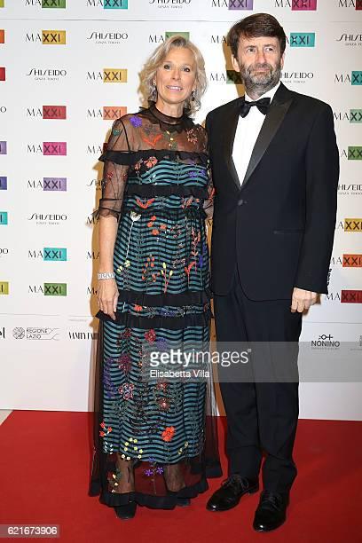 Giovanna Melandri President of Fondazione MAXXI and Italy's Minister of Culture Dario Franceschini attend a photocall for the MAXXI Acquisition Gala...