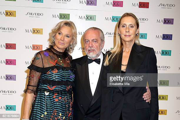 Giovanna Melandri President of Fondazione MAXXI Aurelio De Laurentiis and Jacqueline Baudit attend a photocall for the MAXXI Acquisition Gala Dinner...