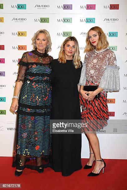 Giovanna Melandri President of Fondazione MAXXI Monica Sarti and Candela Novembre attend a photocall for the MAXXI Acquisition Gala Dinner 2016 at...