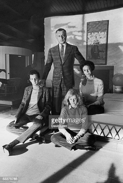 Giovanni Agnelli head of the family which owns the Fiat Group with his family at Villa Bona