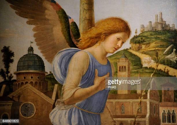 Giovanni Battista Cima da Conegliano Italian Renaissance painter The Annunciation 1495 Detail Oil on canvas The State Hermitage Museum Saint...