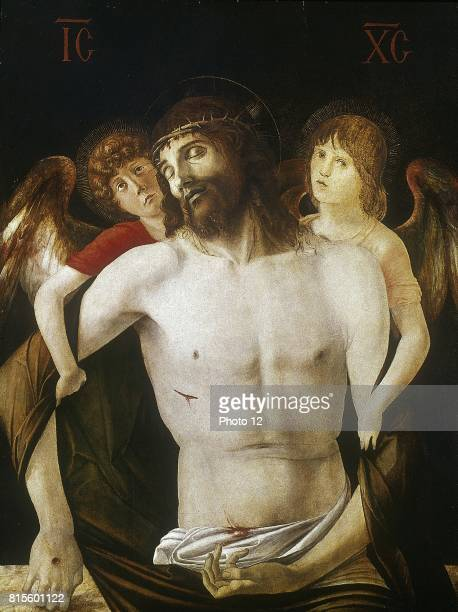 Giovanni BELLINI Christ between Two Angels shows crucified Christ supported by two angels Egg tempera and oil on wood National Gallery London