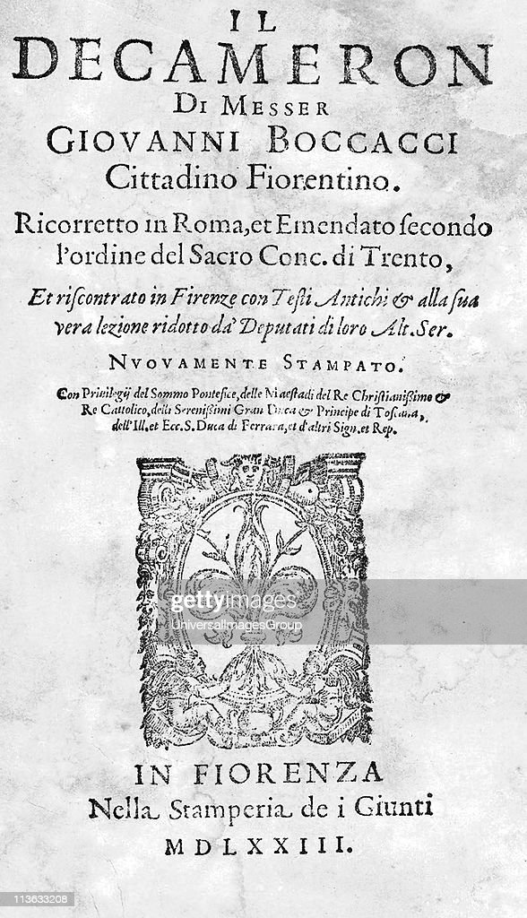 "giovanni boccaccio essay Black death essay introduction the bubonic plague as it was described in giovanni boccaccio's ""decameron"", saved lives of many aristocratic families."