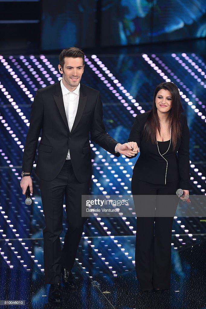 Giovanni Caccamo and Deborah Lurato attend the closing night of 66th Festival di Sanremo 2016 at Teatro Ariston on February 13, 2016 in Sanremo, Italy.