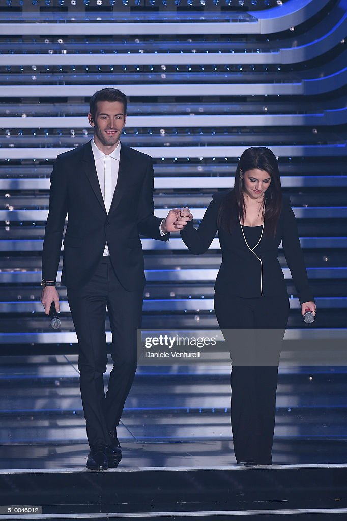 Giovanni Caccamo and Deborah Lurato attend the closing night of 66th Festival di Sanremo 2016 at Teatro Ariston on February 13, 2016 in Sanremo, Italy.